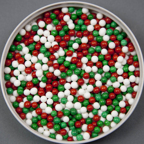 Red, White & Green Sugar Pearls