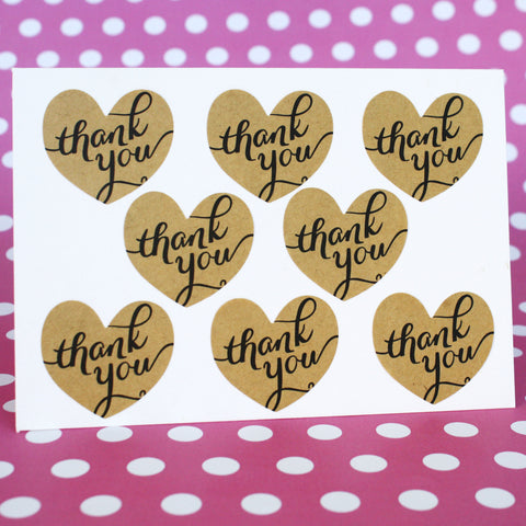 Kraft Heart Thank You Stickers
