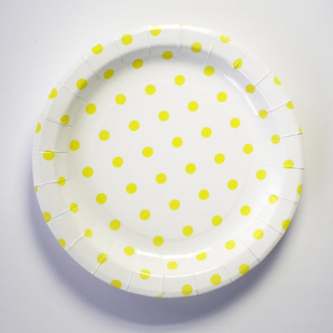 23cm Plates – Yellow & White Polka Dot