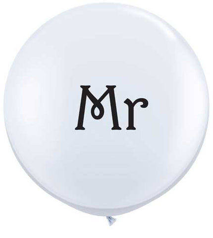 Giant 90cm Balloon - White 'Mr'