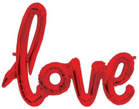 Foil Script Balloon - Red love