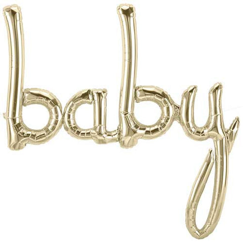 Foil Script Balloon 'baby' - white gold