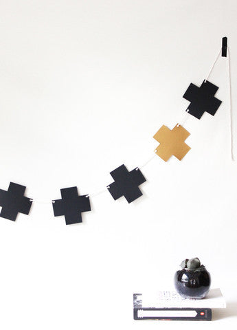 Black & Gold Cross Garland