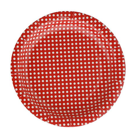 18cm Plates  – Red Polka Dot