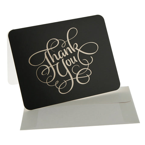 10 x Thank You Cards - Black/Gold