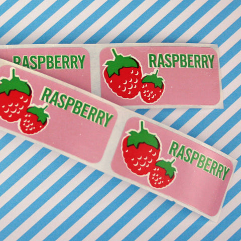 24 x Raspberry Baking Labels