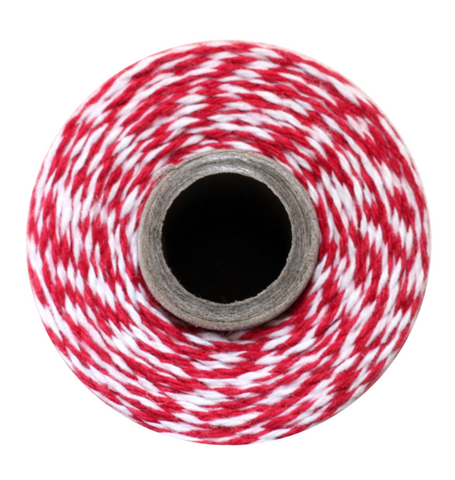 Twine Spool - Maraschino Red Stripe
