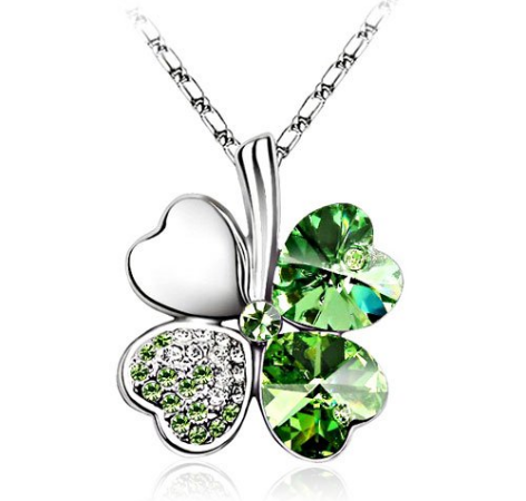 Crystal clover pendant necklace design express aloadofball Image collections