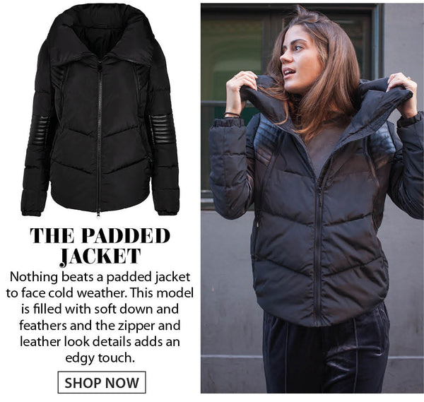 Black padded jacket with leather details