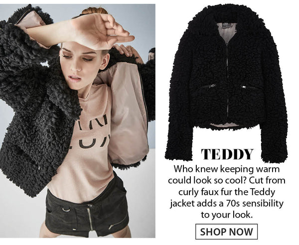 Black teddy coat in curly faux fur