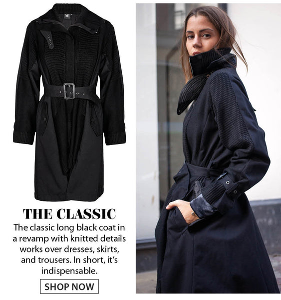 Black classic long coat with knit details
