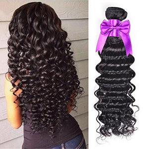 Brazilian Virgin Hair Deep Curly Wave 4 Bundles 100% Unprocessed Human Hair Natural Black Color Hair Extensions Can Be Dyed - bQute LuXe Hair & Lash Boutique