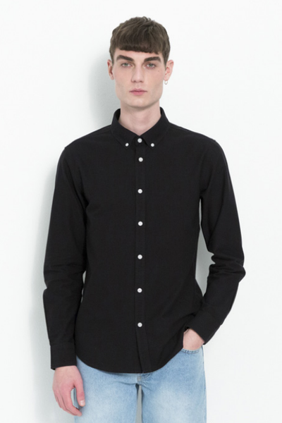 Soulland Goldsmith Button Down Organic Shirt in Black