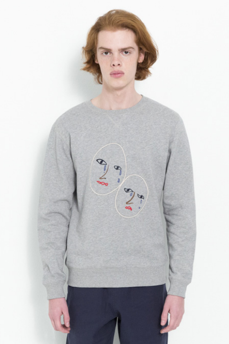 JOSEPH SWEAT W. EMBROIDERY IN GREY