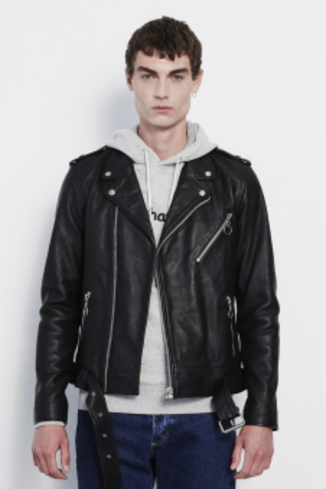 RICHENBACK HEAVY LEATHER BIKER JACKET IN BLACK