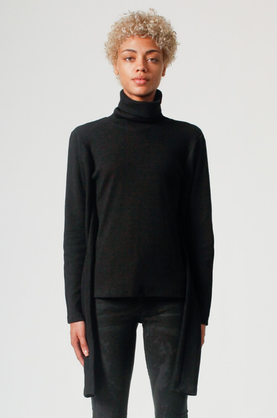 Turtleneck Extra Sleeves Sweater in Black