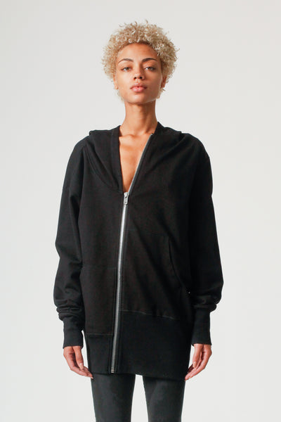Asymmetrical Double Layered Zip-up Hood Jacket in Black