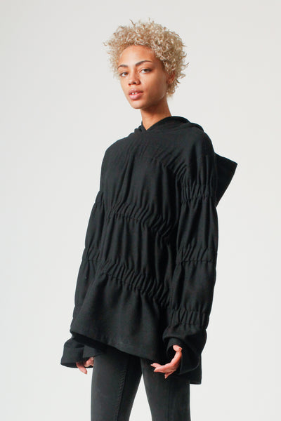 Oversized Folded Detail Hoodie in Black