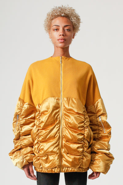 Oversized Semi-Puff Jacket in Gold/ Mustard