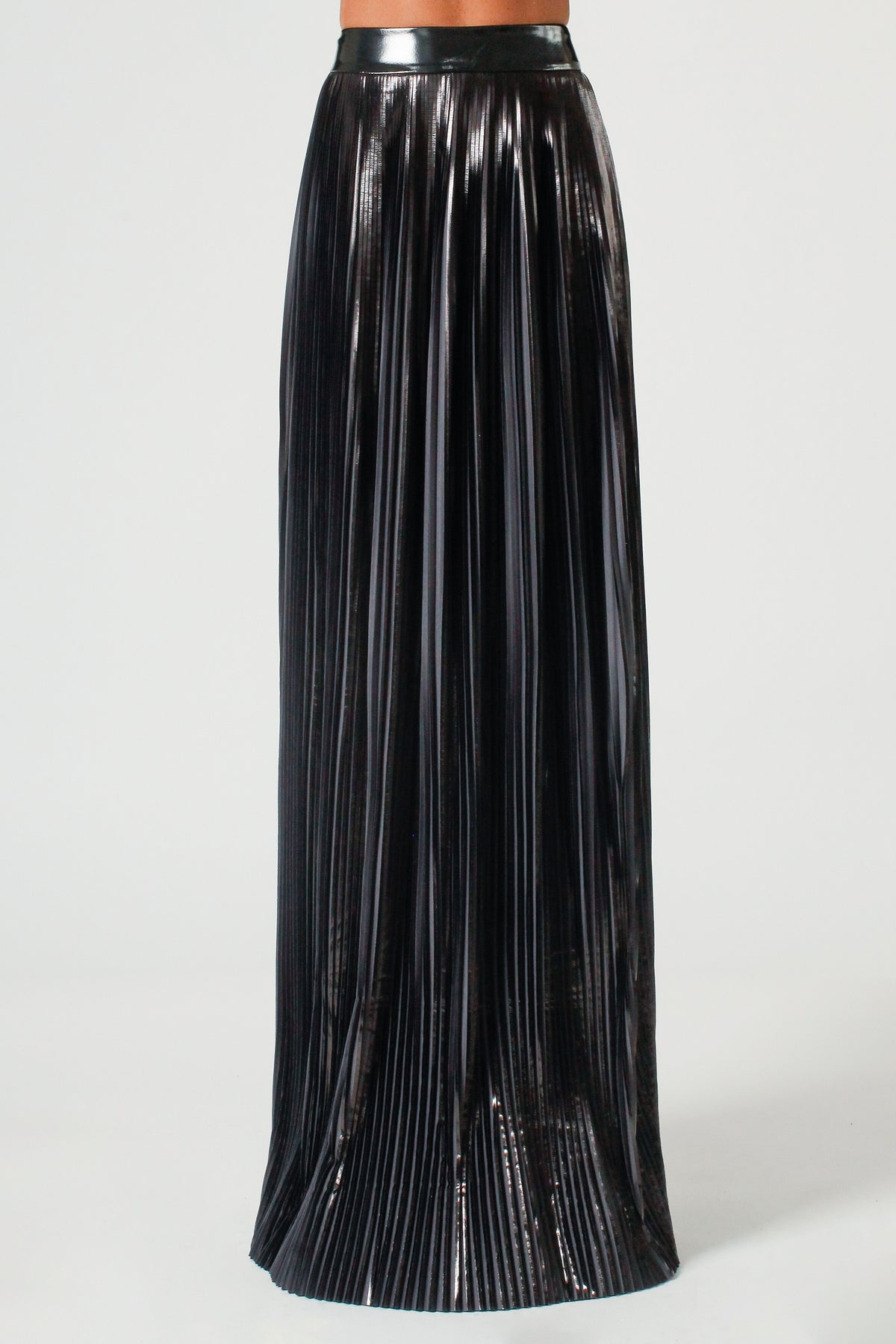Black Pearl Pleated PVC Maxi Skirt