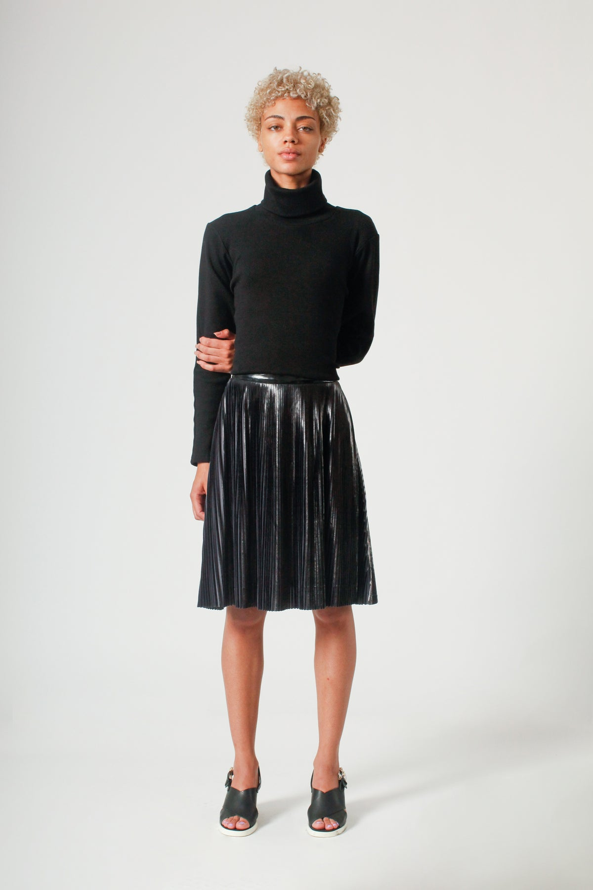 The Pleated PVC Short Skirt