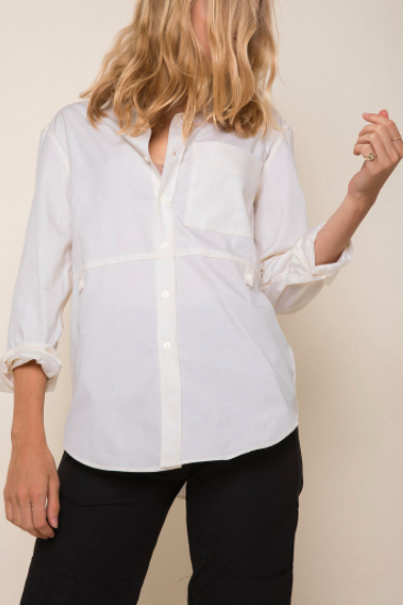 Madison Shirt in Ivory Oxford