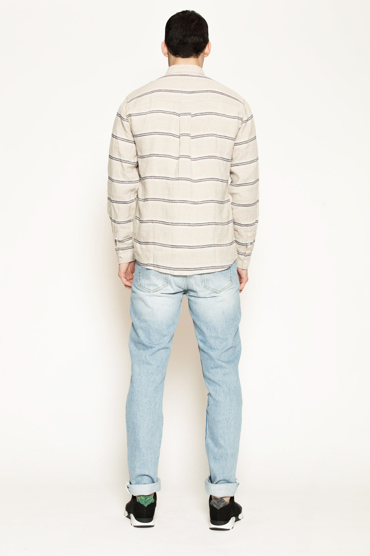 Logan Shirt with Pockets in Beige w/ Navy Stripes