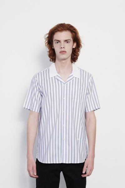 Cornwall Printed Short Sleeve Shirt in Stripe Blue