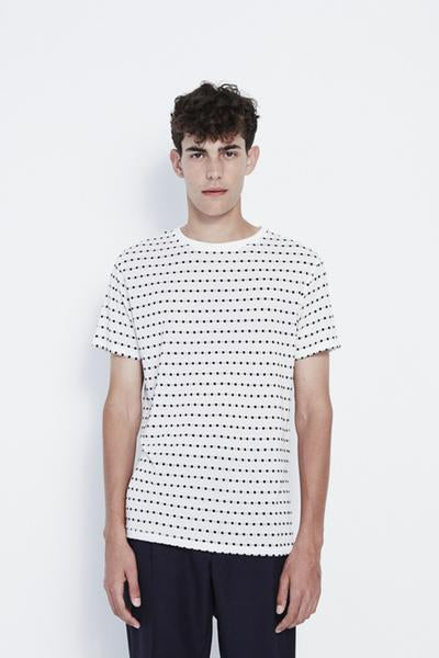 Fernell Jacquard T-Shirt in White/Black Dots