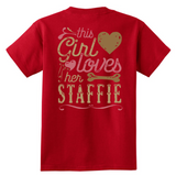 This Girl Loves Her Staffie - Back print - American Staffordshire Terrier Shirt Gift