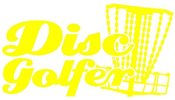 Disc Golfer Text Decal with Mach 3 Type Basket Detail