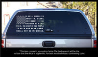 2nd Amendment Text Flag with 50 detailed stars and Stripes Decal Regular