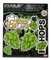 Hop Lovers Beer Life I <3 Hops Sticker Kit - Includes 5 Premium Decals