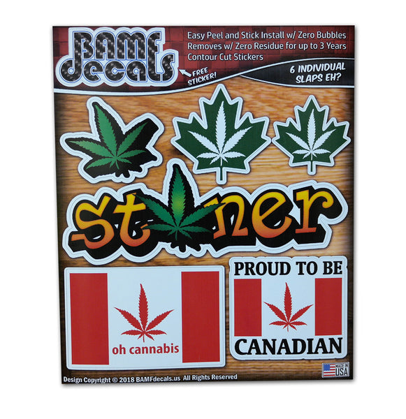 Canadian Pride Marijuana Leaf Flag Stoner Sticker Kit #1