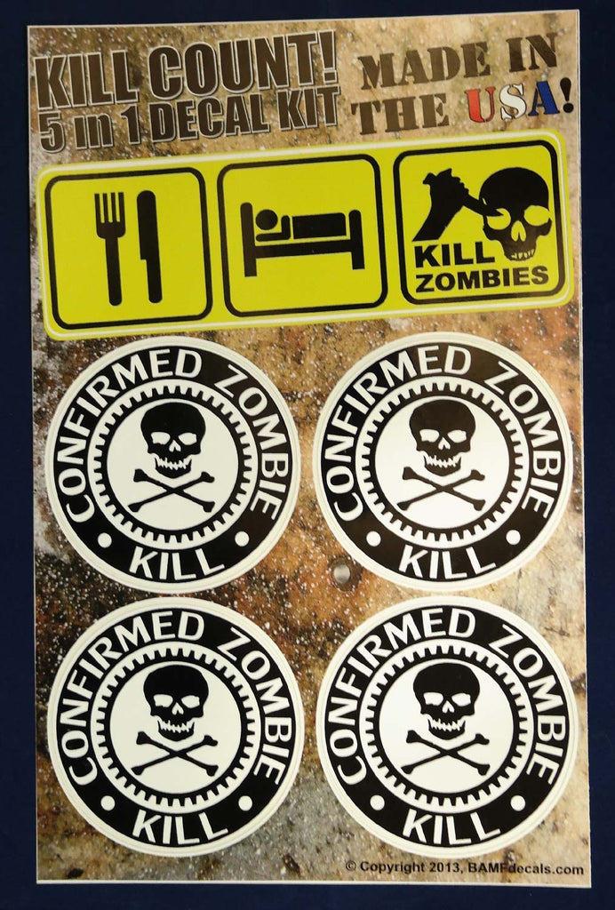 Eat sleep kill zombies jolly roger kill count kit includes 5 premium printed decals