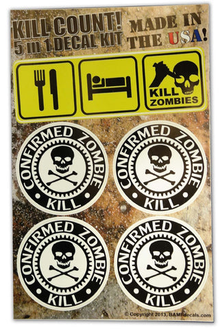 Eat Sleep Kill Zombies - Jolly Roger Kill Count Kit Includes 5 Premium Printed Decals