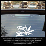 Four Twenty Text and Leaf Decal - Available in 12 different colors and 2 sizes!