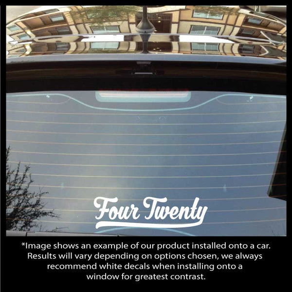 Classic Style Four Twenty Text Decal - Available in 12 different colors and 2 sizes!