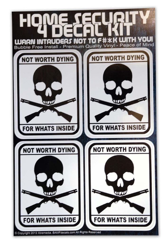 Jolly Roger Home Security Warning Kit - Includes 4 Warning Stickers