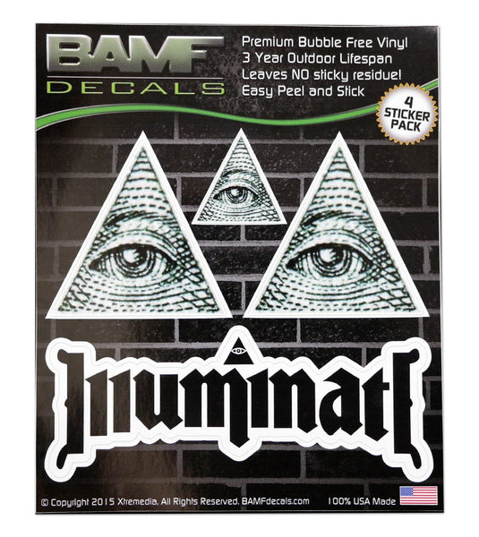 Illuminati Confirmed! Pyramid Eye Decal Kit - Includes 4 Premium Stickers