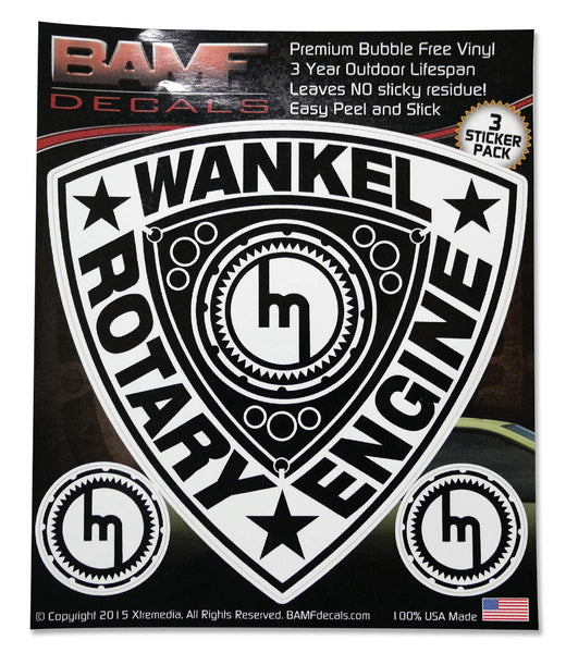 Wankel Rotary Engine Decal Kit w/ Old School Mazda M - Includes 3 Premium Stickers
