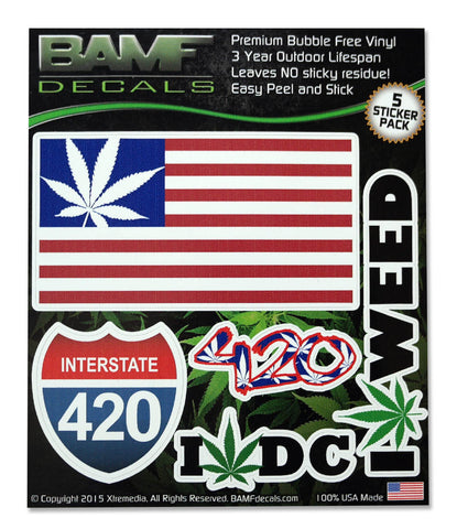 Washington D.C. Legal Weed Lovers Decal Kit - Includes 5 Premium Stickers