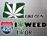 Oregon State Legal Weed Lovers Decal Kit - Includes 5 Premium Stickers