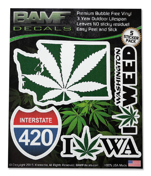 Washinton State Legal Weed Lovers Decal Kit - Includes 5 Premium Stickers