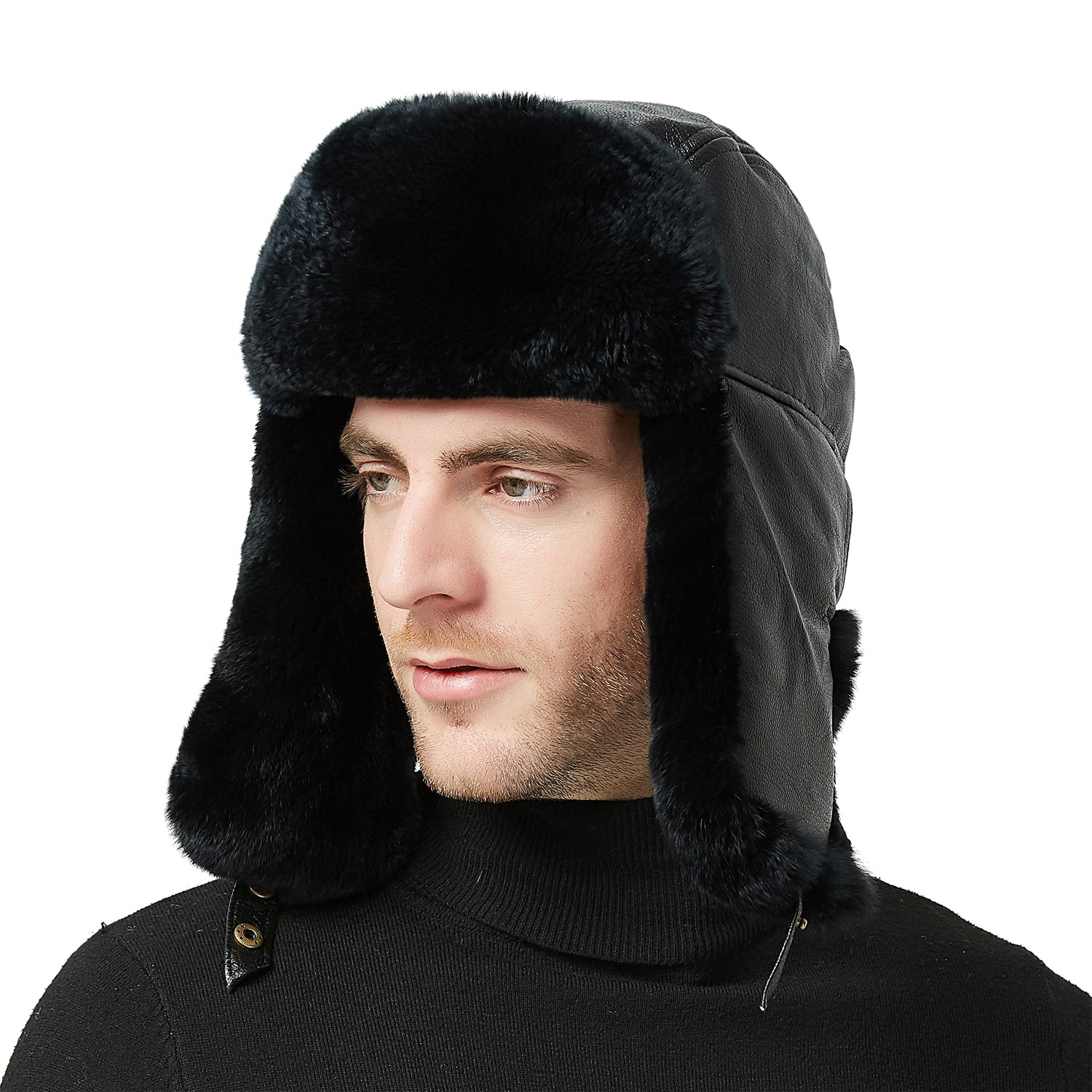 b10fa19260 37 Sheep Leather Rabbit Fur Aviator Russian Ushanka Ear Flap Winter Me -  IKEPOD