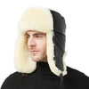 Shearling Sheepskin Sheep Leather Aviator Russian Winter Fur Men Trapper Hat