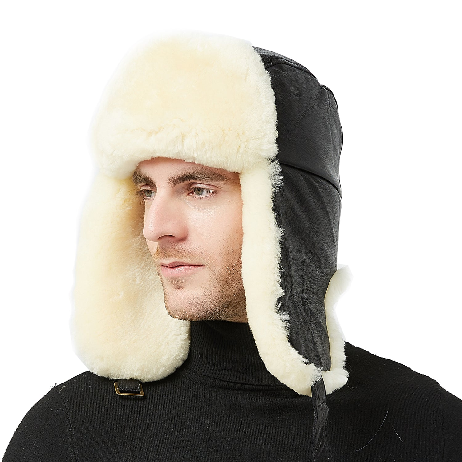 Fur Story Womens Trapper Hat with Sheep Leather Earflap Mens Winter Fur Hat