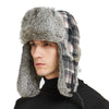 Buffalo Plaid Aviator Russian Winter Hunting Rabbit Fur Trapper Hat