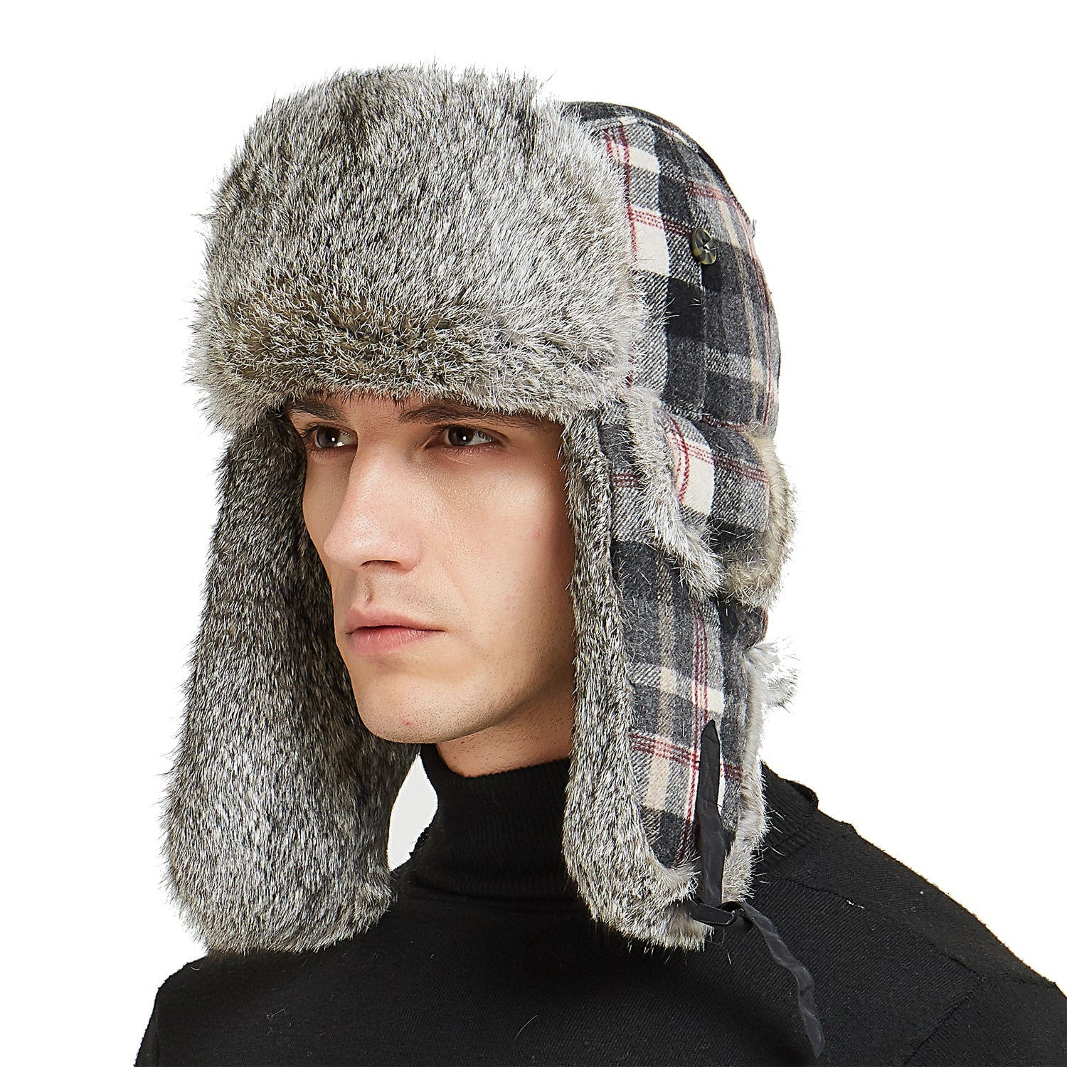 f6e49417eb9 32 Buffalo Plaid Aviator Russian Winter Hunting Rabbit Fur Trapper Hat Cap