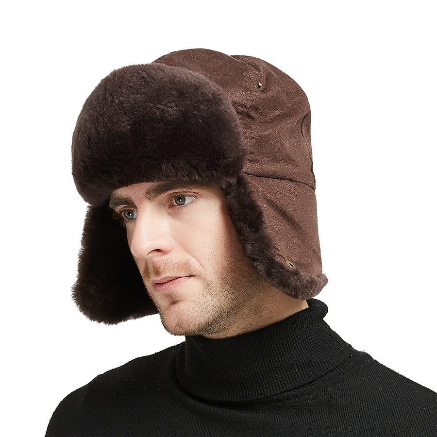 34 Shearling Sheepskin Pilot Aviator Russian Ushanka Winter Trapper Hat